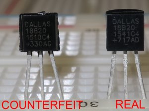 Counterfeit DS18B20 temperature sensors